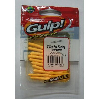 Приманка GULP! FAT FLOATING TROUT WORM 5CM CHUNKY CHEESE